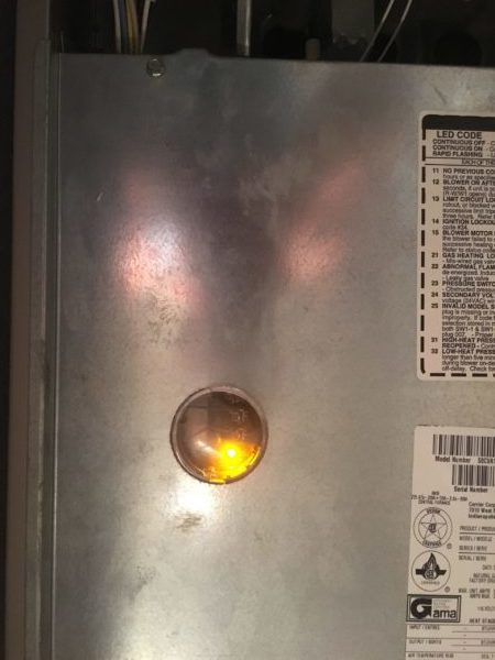 what do carrier furnace yellow light codes mean